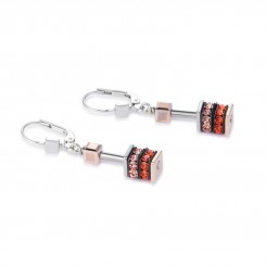 COEUR DE LION Geo Cube Elegant Orange & Rose Gold Earrings 4928/20-0200
