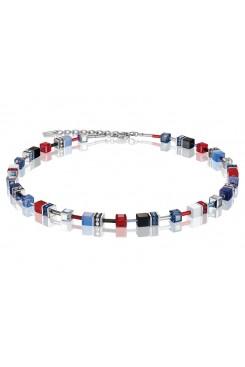 COEUR DE LION Geo Cube Scarlet Red, White and Denim Blue Necklace 2838/10-0703