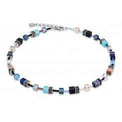 COEUR DE LION Geo Cube Beach Blue Necklace 2838/10-0710