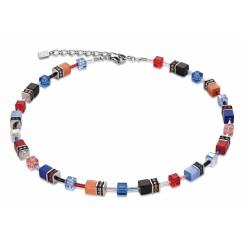 COEUR DE LION Geo Cube Denim Blue and Orange Necklace 2838/10-1559