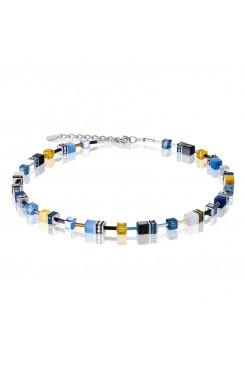 COEUR DE LION Geo Cube Sky Blue & White Necklace 2838/10-0701