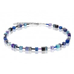 COEUR DE LION Geo Cube Navy Blue Purple Necklace 2838/10-0708