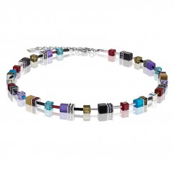 COEUR DE LION Geo Cube Vintage Khaki, Turquoise and Purple Necklace 2838/10-1560