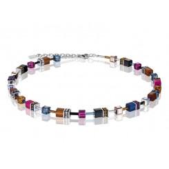 COEUR DE LION Geo Cube Navy Blue Amber Magenta Necklace 2838/10-1567