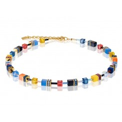 COEUR DE LION Geo Cube Sky Blue, Yellow and Black Necklace 2838/10-1572