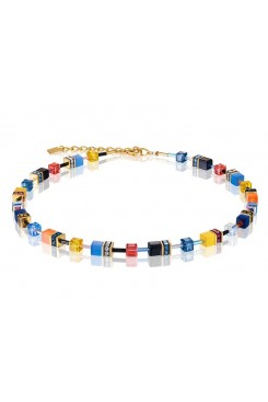 COEUR DE LION Geo Cube Sky Blue, Yellow and Black Necklace 2838/10-1572