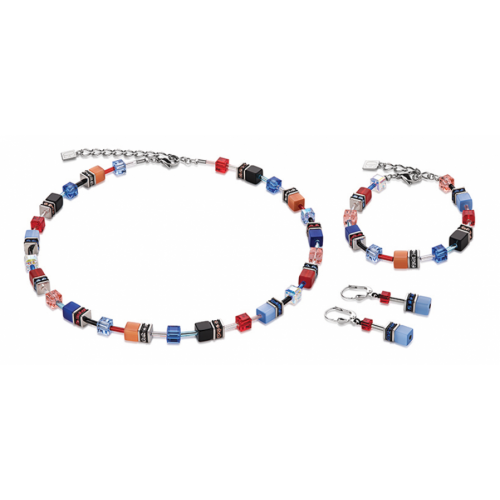 Coeur De Lion Geo Cube Denim Blue And Orange Earrings 2838