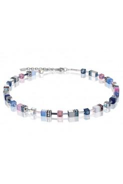 COEUR DE LION Geo Cube Pink, Navy and Sky Blue Necklace 2839/10-0719