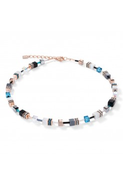 COEUR DE LION Geo Cube Rose Gold, White & Turquoise Necklace 4013/10-0624
