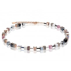 COEUR DE LION Geo Cube Pink, White, Silver and Black Necklace 4013/10-1920