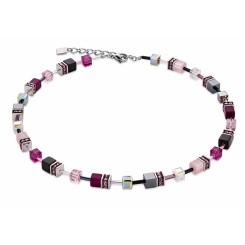 COEUR DE LION Geo Cube Magenta Pink Necklace 4014/10-0412