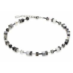 COEUR DE LION Geo Cube Haematite Black and White Necklace 4014/10-1412