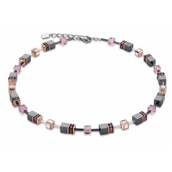 COEUR DE LION Geo Cube Onyx and Rose Gold Necklace 4015/10-1328