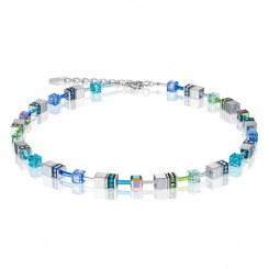 COEUR DE LION Geo Cube Silver & Cool Blue Necklace 4015/10-0705