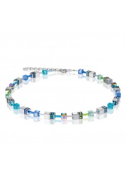 COEUR DE LION Geo Cube Silver & Cool Blue Necklace 4015/10-0705