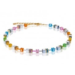 COEUR DE LION Geo Cube Soft Rainbow, Hematite and Gold Necklace 4015/10-1522