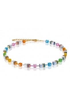 COEUR DE LION Geo Cube Soft Rainbow, Hematite and Gold Necklace 4015/10-1522
