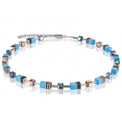 COEUR DE LION Geo Cube Delicate Cornflower Blue Necklace 4016/10-0700