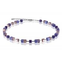 COEUR DE LION Geo Cube Rose Gold and Amethyst Purple Necklace 4016/10-0800