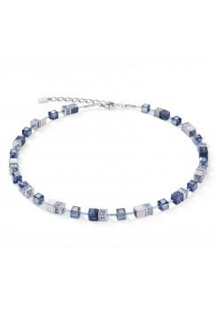 COEUR DE LION Geo Cube Hematite & Blue Sodalite Necklace 4017/10-0700