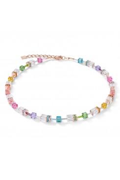 COEUR DE LION Geo Cube Multicolour Crystal Necklace 4022/10-1500