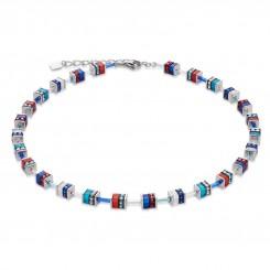 COEUR DE LION Geo Cube Swarovski Crystals Small Blue Red Necklace 4409/10-0703