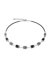 COEUR DE LION Geo Cube Black Haematite Silver Necklace 4540/10-1712