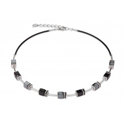 COEUR DE LION Geo Cube Black Haematite Silver Necklace 4540/10-1712