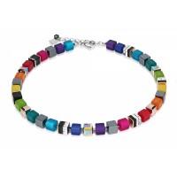 COEUR DE LION Geo Cube Haematite & Swarovski® crystals Rainbow Necklace  4689/10-1500