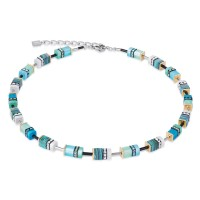 COEUR DE LION Geo Cube Malachite Turquoise Necklace 4746/10-0605