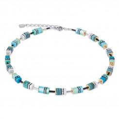 COEUR DE LION Geo Cube Malachite Turquoise Necklace 4746/10-0605