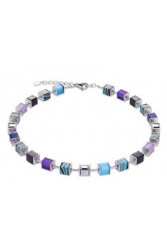 COEUR DE LION Geo Cube Swarovski Crystals, Malachite, Turquoise and Purple Necklace 4747/10-0708