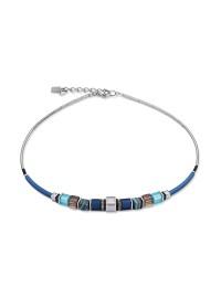 COEUR DE LION Geo Cube Malachite Turquoise Bronze Front Necklace 4766/10-0700