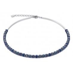 COEUR DE LION Swarovski Haematite Dark Titanium Blue Necklace 4777/10-1568