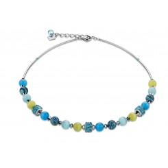 COEUR DE LION Swarovski Agate Blue Green Necklace 4816/10-0605