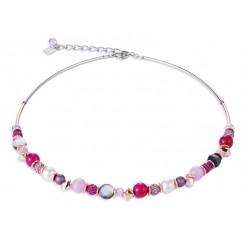 COEUR DE LION Swarovski Pearls, Agate Magenta Pink Necklace 4864/10-0400