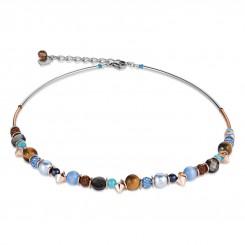 COEUR DE LION Frontline Crystals & Crystal Pearls by Swarovski & Rock Crystal Blue-Brown Necklace 4864/10-0711