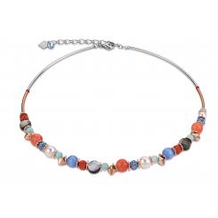 COEUR DE LION Swarovski Pearls Rock Crystal Orange Blue Necklaces 4864/10-2002