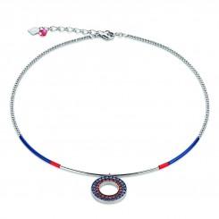 COEUR DE LION Swarovski Navy Red Circle Pendant Necklace 4878/10-0703