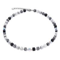COEUR DE LION Geo Cube Swarovski Crystals & Malachite Small Black-White Necklace 4882/10-1314