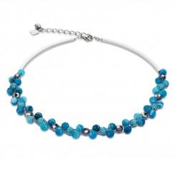COEUR DE LION Multirow Swarovski Crystals & Striped Agate Turquoise Necklace 4895/10-0600