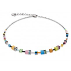COEUR DE LION  Geo Cube Multi Colour Graduated Necklace 4910/10-1527