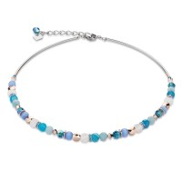 COEUR DE LION Mother of Pearl & Swarovski Crystals & Amazonite & Striped Agate Turquoise-Blue Necklace 4914/10-0607