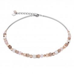 COEUR DE LION Mother of Pearl & Swarovski Crystals & Rose Quartz & Agate Beige-Rose Necklace 4914/10-1019