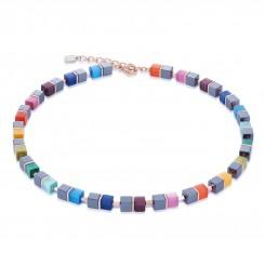 COEUR DE LION Geo Cube Haematite Multi Colour Necklace 4927/10-1520