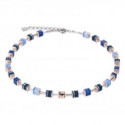 COEUR DE LION Geo Cube Elegant Dusky Blues Necklace 4928/10-0700