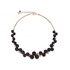 COEUR DE LION Swarovski Glossy Black & Rose Gold Necklace 4937/10-1300