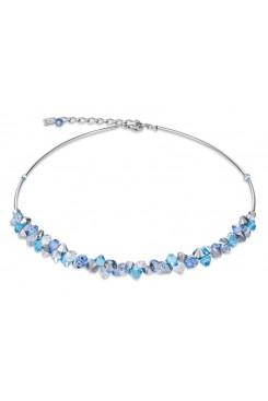 COEUR DE LION Geo Cube Turquoise, Blue Crystal & Rose Gold Necklace 4938/10-0720