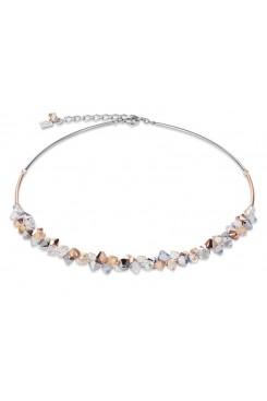 COEUR DE LION Geo Cube Elegant Champagne & Rose Gold Crystal Necklace 4938/10-1631