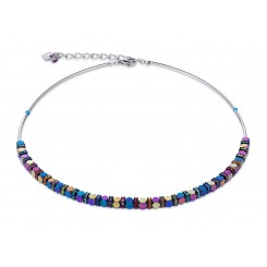 COEUR DE LION Swarovski Bevelled Haematite Multicolour Necklace 4940/10-1500